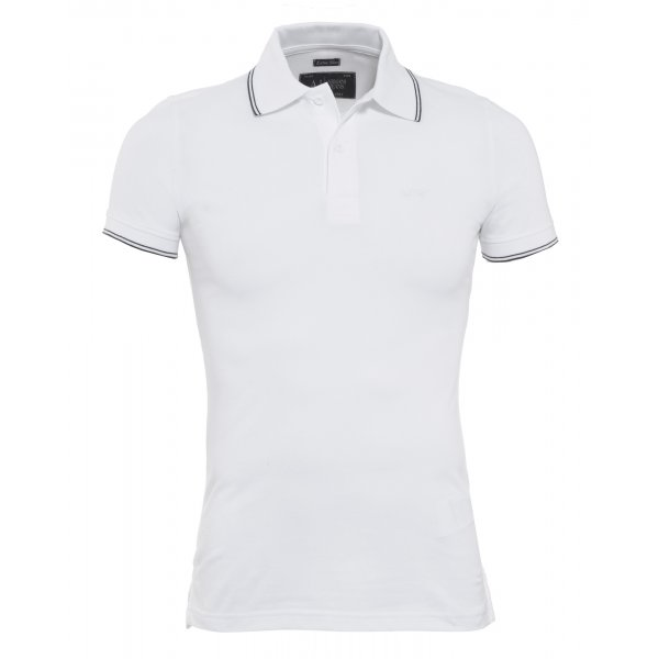 Armani Jeans White Extra Slim Fit Tipped Polo Shirt d79de1411036