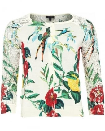 White Floral and Bird Print Cardigan
