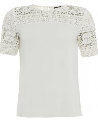 White Short Sleeve Lace Panel Top