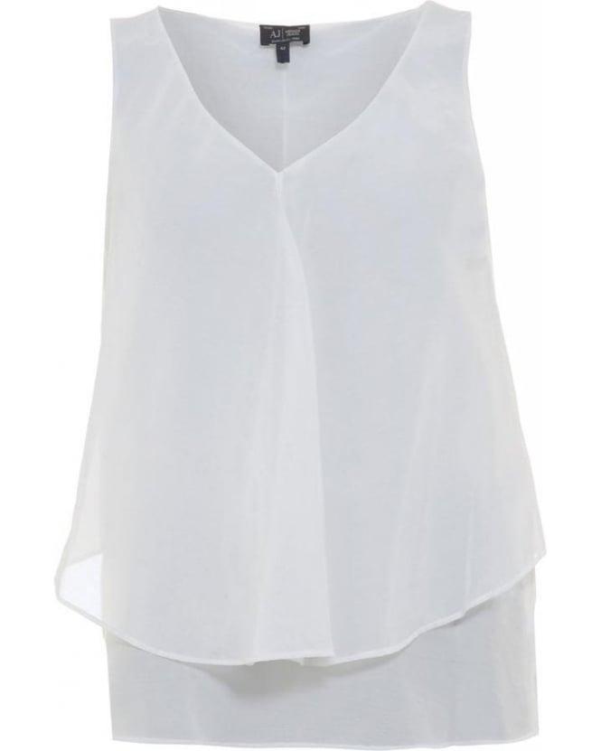 Armani Jeans White Sleeveless Vest Top
