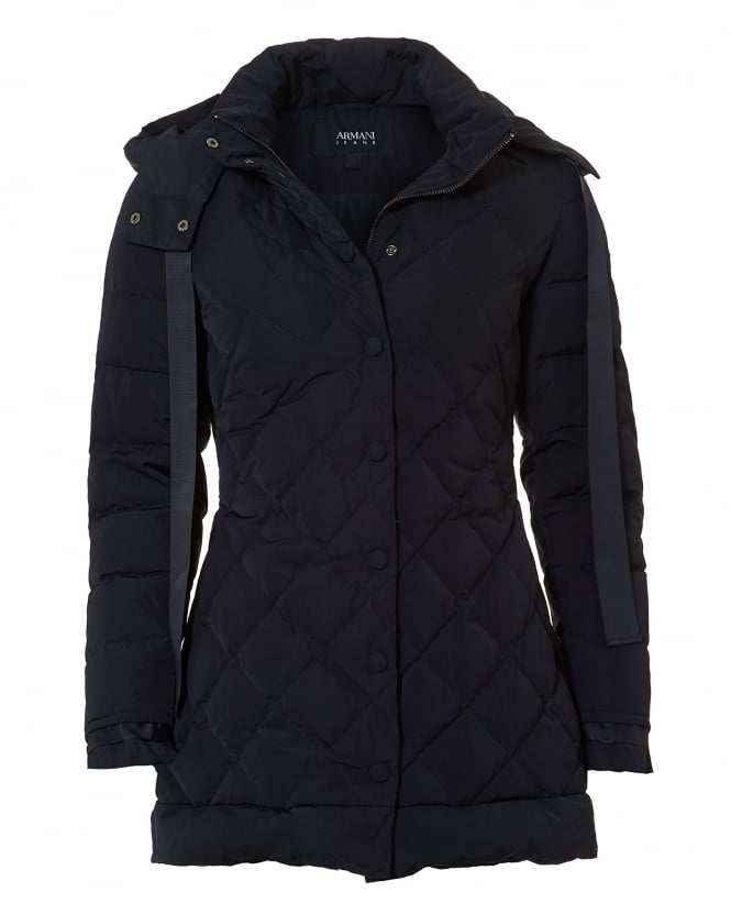 Armani Jeans Womens 3/4 Length Diamond Quilt Navy Puffa Jacket