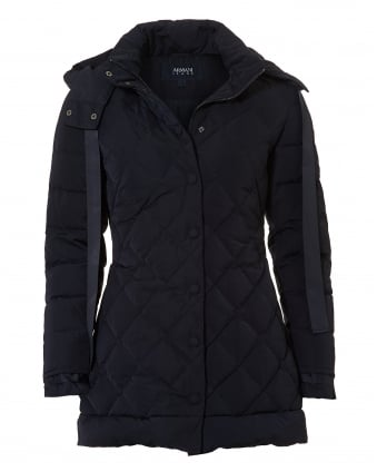 Womens 3/4 Length Diamond Quilt Navy Puffa Jacket