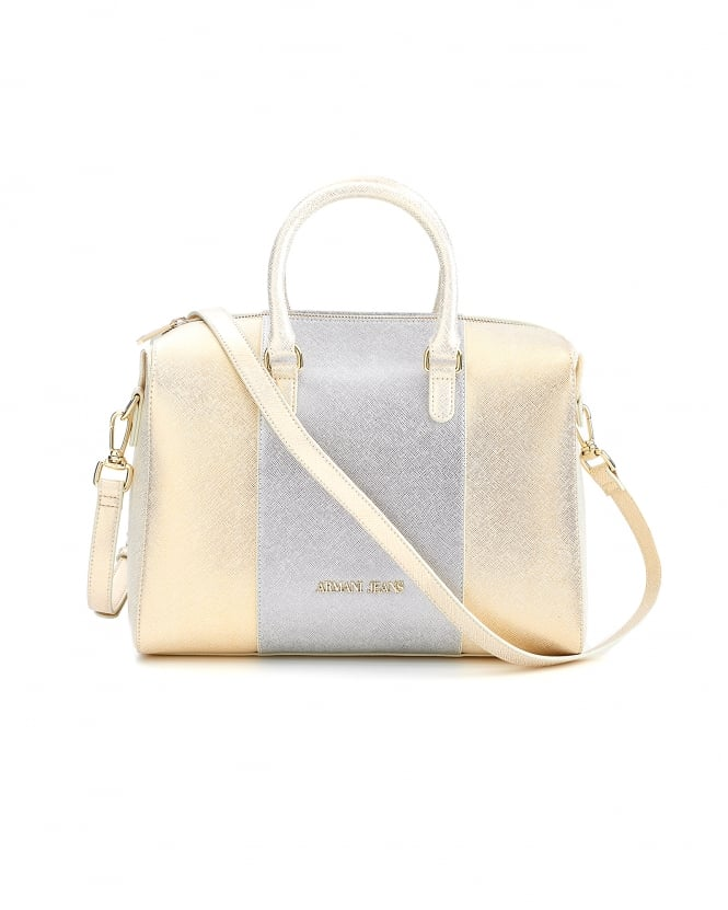 Armani Jeans Womens Bag, Large Pearl Gold Metallic Tote