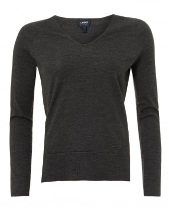 Womens Basic V-Neck Jumper, Grey Melange Sweater