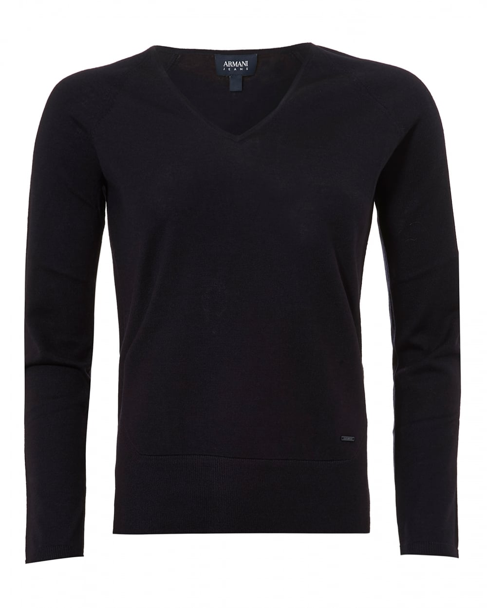 Armani Jeans Womens Basic V-Neck Jumper, Navy Blue Sweater
