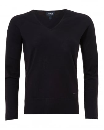 Womens Basic V-Neck Jumper, Navy Blue Sweater