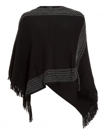 Womens Black Fringe Poncho