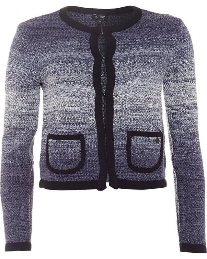 Armani Jeans Womens Cardigan, Navy Blue Trim Ombre Jacket