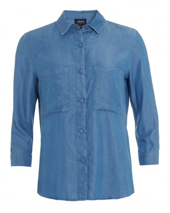 Womens Chambray Twin Pocket Denim Shirt