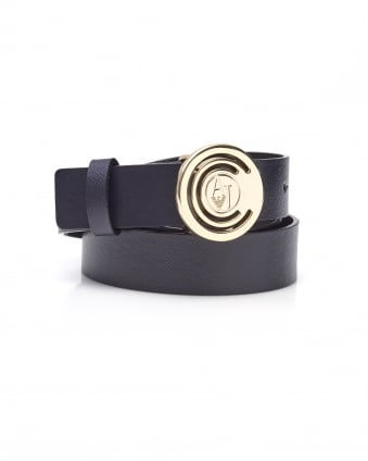 Womens Circle AJ Logo Buckle Navy Leather Belt