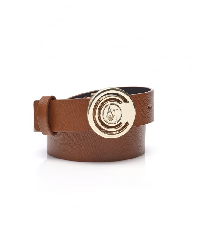 Armani Jeans Womens Circle AJ Logo Buckle Tan Leather Belt