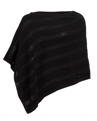 Womens Cotton Angora Mix Tonal Panel Black Poncho