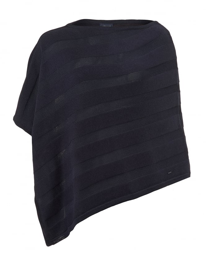 Armani Jeans Womens Cotton Angora Mix Tonal Panel Navy Blue Poncho