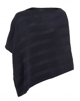 Womens Cotton Angora Mix Tonal Panel Navy Blue Poncho