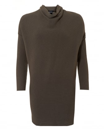 Womens Cowl Neck Tunic, Ribbed Taupe Dress