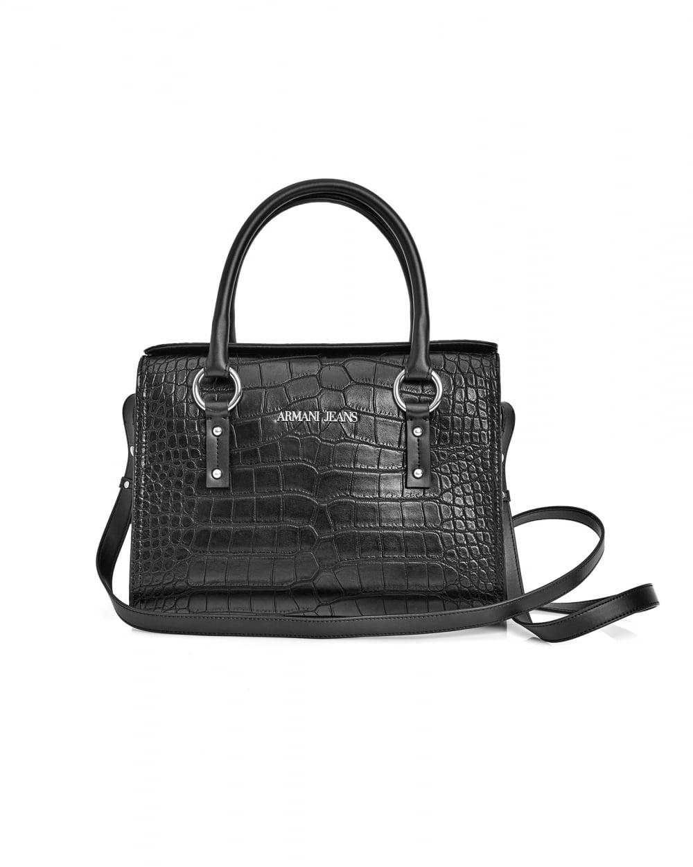Armani Jeans Womens Crocodile Effect Small Black Tote Bag