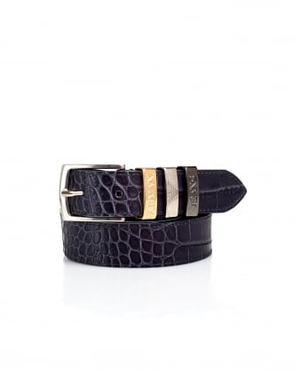 Womens Crocodile Print Anthracite Grey Belt