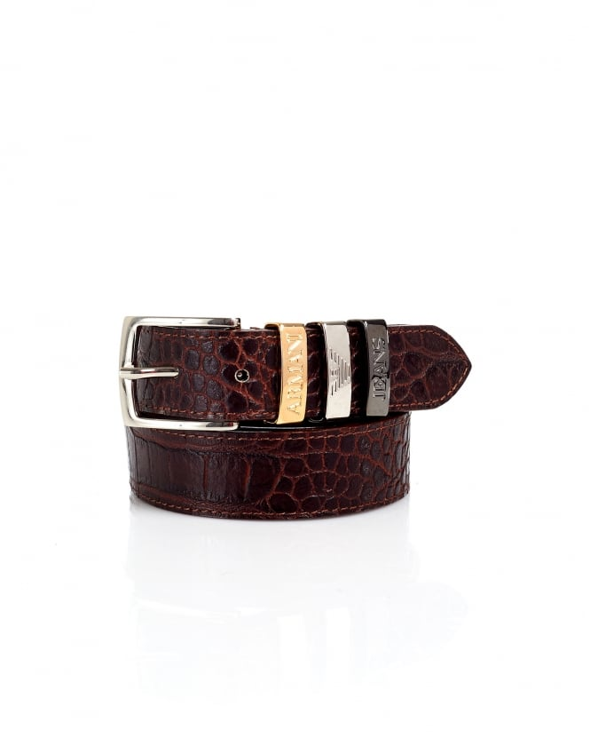Armani Jeans Womens Crocodile Print Tan Belt