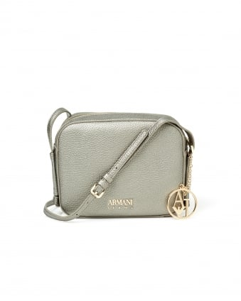 Womens Cross Body Lizard Effect Platinum Bag