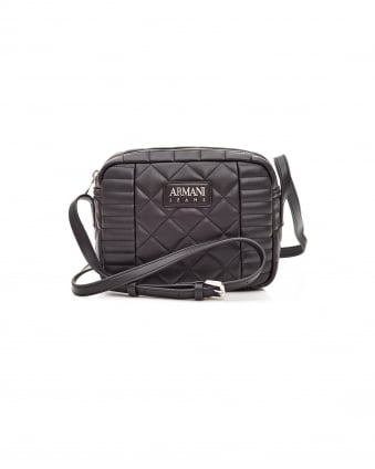 Womens Cross Body Quilted Top Zip Black Bag