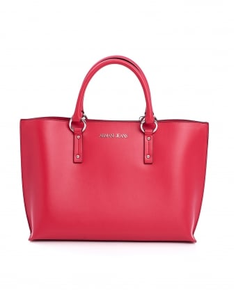 Womens Double Handle Red Shopper Bag