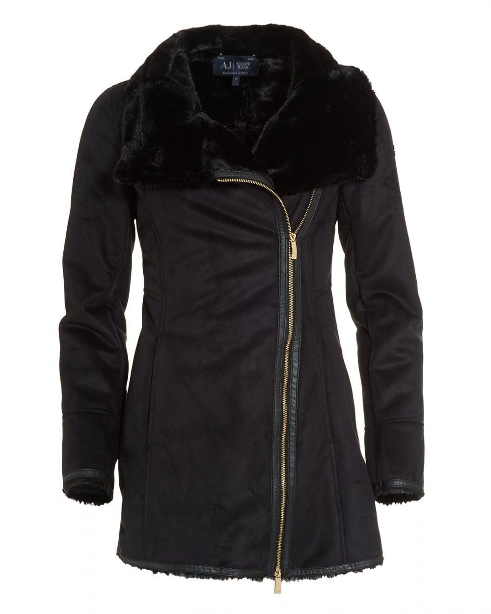 Armani Jeans Womens Faux Shearling Black Coat