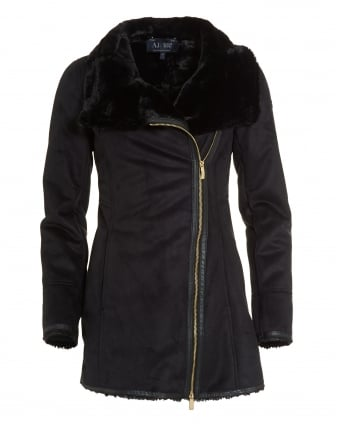 Womens Faux Shearling Black Coat