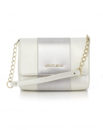 Womens Front Flap Over Panelled Pearl Bag