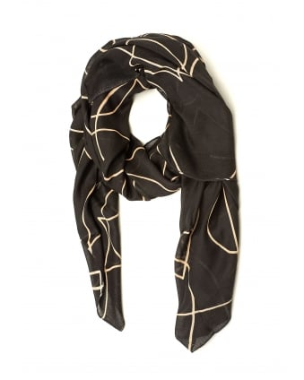 Womens Heart Outline Pattern Grey Beige Scarf