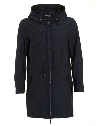 Womens Hooded Parka, Water Resistant Navy Blue Jacket