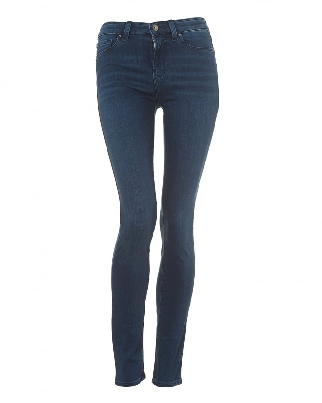 Armani Jeans Womens J20 Blue Mid-Wash Skinny High Rise Jeans