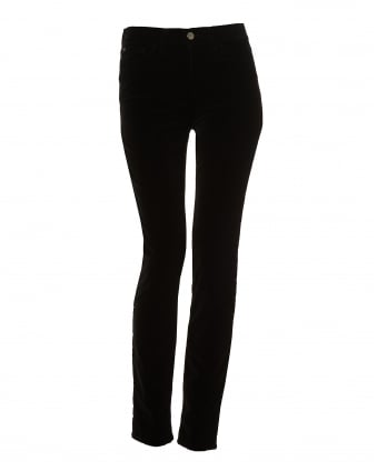 Womens J20 Jeans, Velvet High Waisted Black Denim