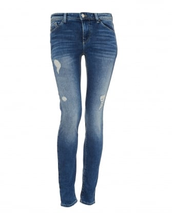 Womens J28 Jean, Distressed Light Mid Wash Skinny Denim