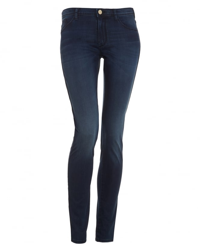 Womens J28 Jeans, Mid Rise Skinny Dark Mid Wash Denim