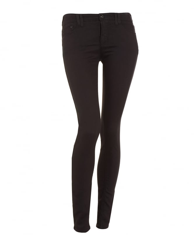 Armani Jeans Womens J28 Power Stretch Mid Skinny Black Jeans