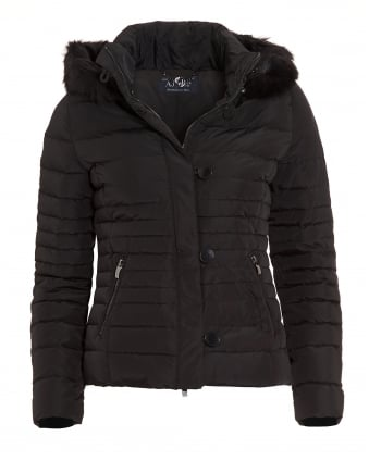 Womens Jacket, Black Quilted Puffa Coat