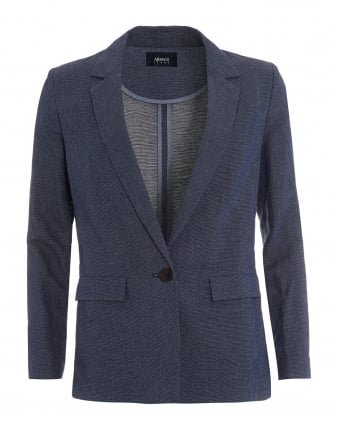 Womens Jacket, Navy Blue Long Blazer