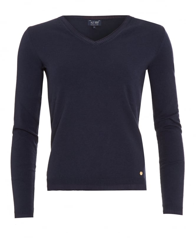 Armani Jeans Womens Jumper, Navy Blue V-Neck Sweater