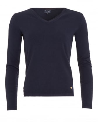 Womens Jumper, Navy Blue V-Neck Sweater
