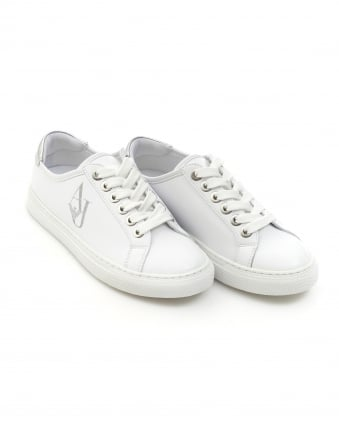 Womens Logo Trainers, Lace Up White Sneakers