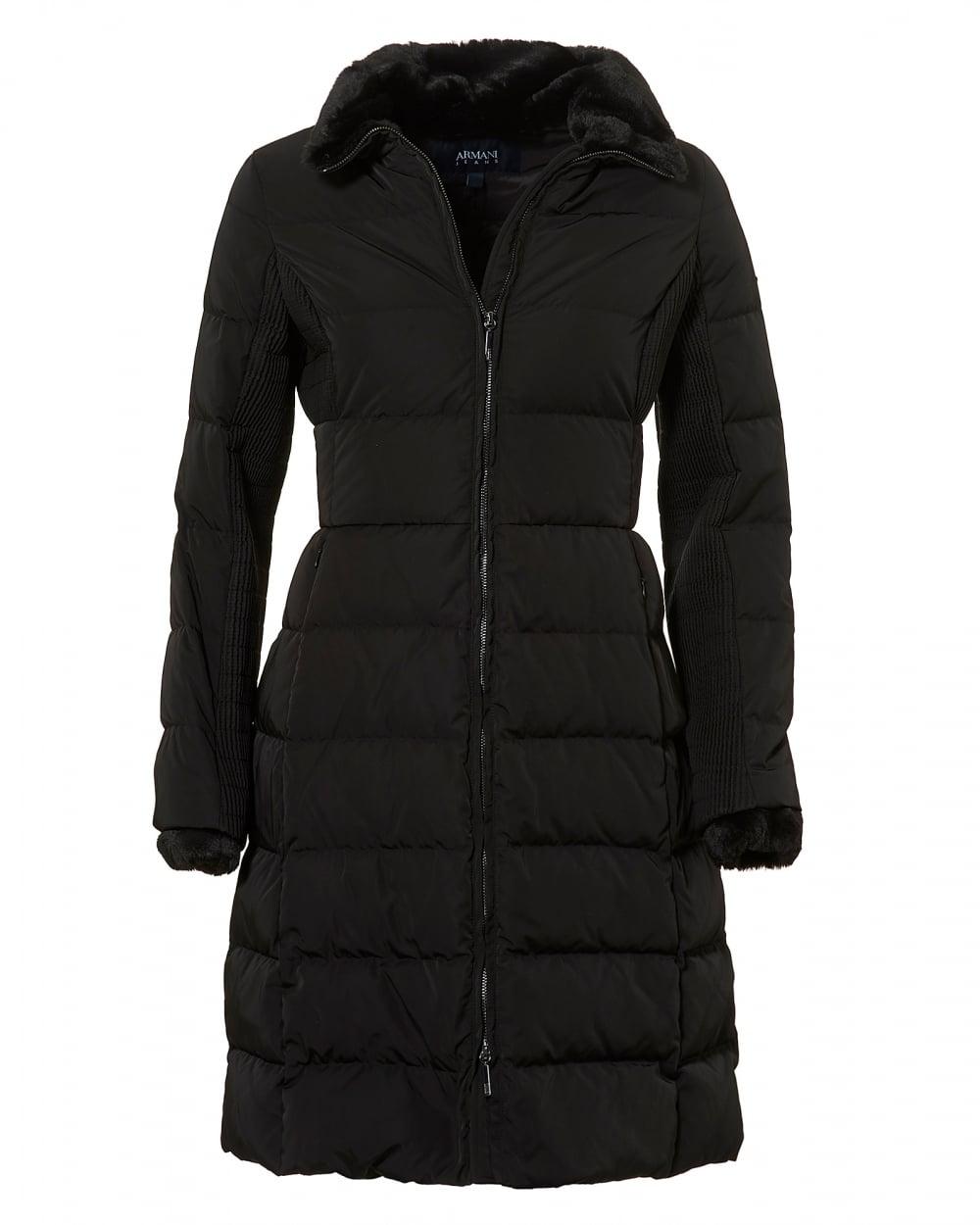 Armani Jeans Womens Long Length Jacket, Down Filled Black Puffa Coat