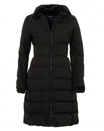 Womens Long Length Jacket, Down Filled Black Puffa Coat