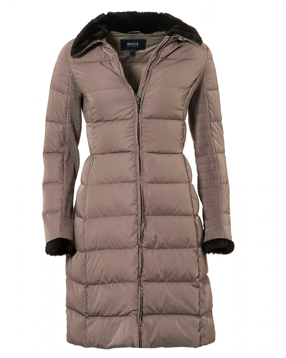Armani Jeans Womens Long Length Jacket, Down Filled Taupe Puffa Coat