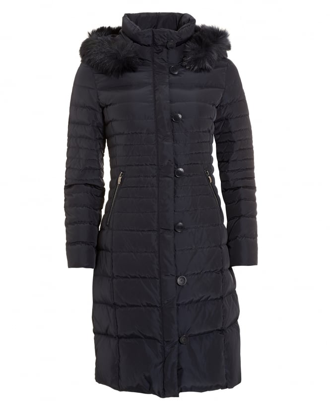 Armani Jeans Womens Long Quilted Puffa Navy Blue Coat