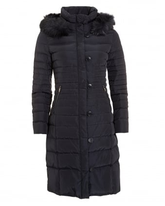 Womens Long Quilted Puffa Navy Blue Coat