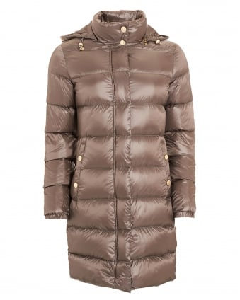 Womens Longer Puffa Taupe Coat