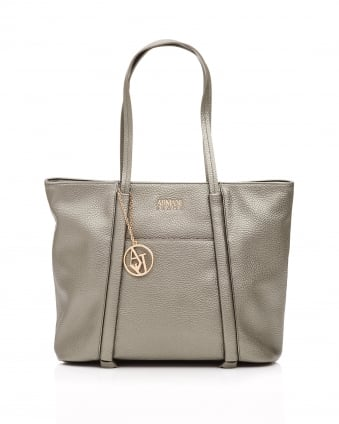 Womens Metallic Bronze Logo Platinum Shopper Bag