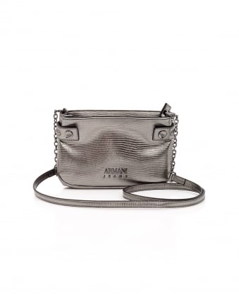 Womens Metallic Lizard Detachable Chain Gun Metal Bag