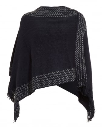 Womens Navy Blue Fringe Poncho