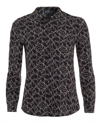 Womens Navy Blue Heart Print Shirt